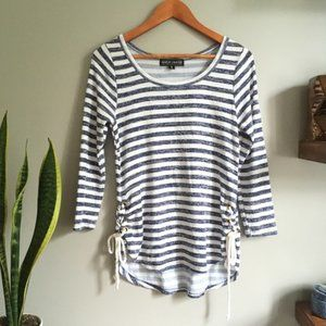 Almost Famous Striped Side Tie Up Beachy Top